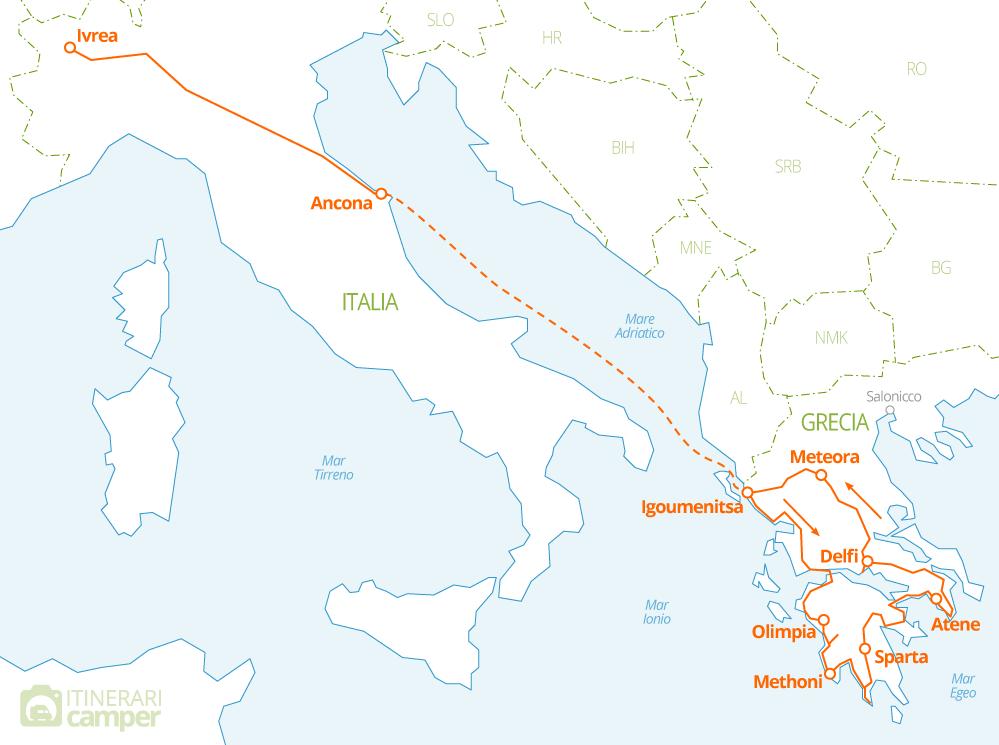 Cartina Italia Riccione.Mappa Itinerario Camper Grecia