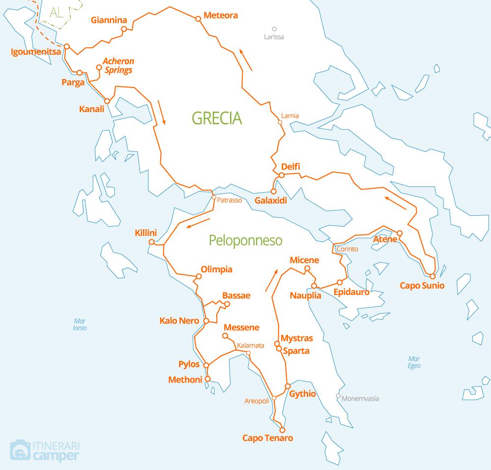 Cartina Puglia Grecia.Mappa Itinerario Camper Grecia